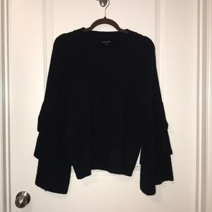 Black, tiered sleeve sweater, size M. Worn 3 times